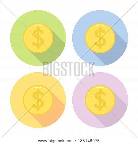 Golden Dollar Coin Flat Icons Set