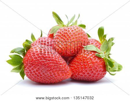 Strawberries isolated on white background in studio