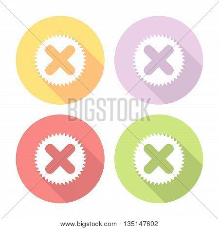 Cancel Button Flat Icons Set