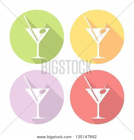Martiny Coctail Party Glass Flat Icons Set