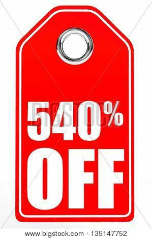 Discount 540 Percent Off. 3D Illustration.