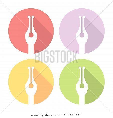 Ink Nib Tool Flat Icons Set
