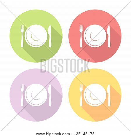 Plate And Cutlery Flat Icons Set