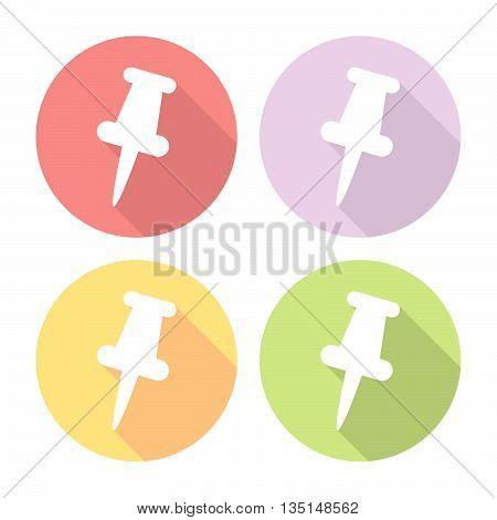 Office Push Pin Flat Icons Set