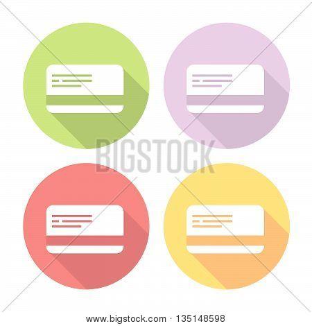 Plastic Credit Card Flat Icons Set