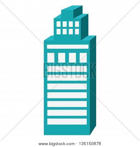 blue tall building with white windows over isolated background, construction city concept, vector illustration