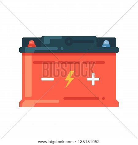Car battery icon. Accumulator symbol. Vector flat illustration isolated on white background.