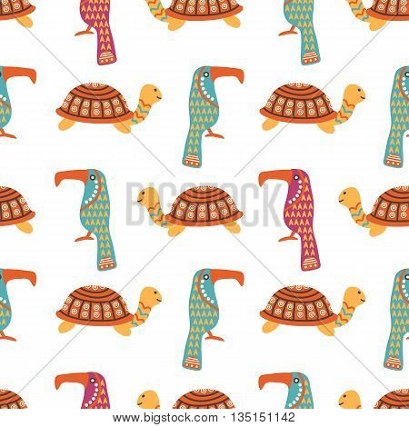 African animals cute seamless pattern with colorful ornamental turtle and kiwi bird, vector illustration