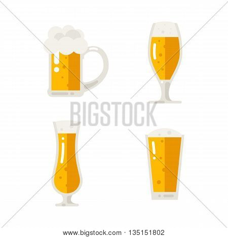 Set of beer icons. Beer bottle, glass, pint. Oktoberfest. Vector flat illustration isolated on white background.