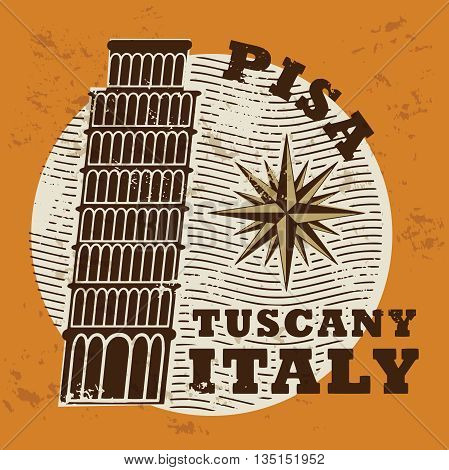 Stamp set with words Pisa, Tuscany, Italy inside, vector illustration