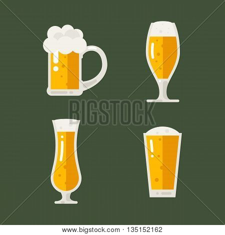 Vector set of beer icons. Beer bottle, glass, pint. Oktoberfest beer vector set. Flat illustration.