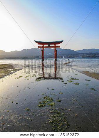 The famous floating torii of Miyajima Island, Japan