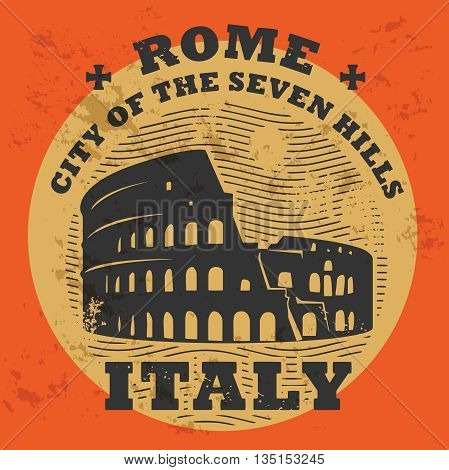 Stamp set with text Rome, Italy, inside vector illustration