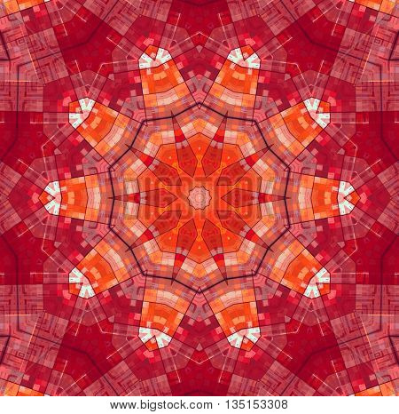 Abstract bright red background with concentric pattern