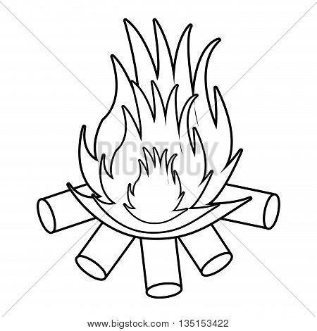 wooden logs with flame over isolated background, vector illustration