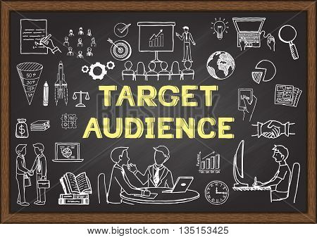 Hand drawn icons about Target audience on chalkboard