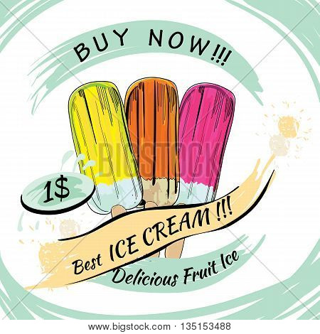 Vector illustration of set Fruit Ice with price. Popsicle on a white background. Popsicle colorful poster. Chocolate ice cream. Poster design, template