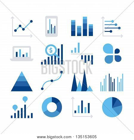 Business data market elements dot bar pie charts diagrams and graphs flat icons set isolated vector illustration