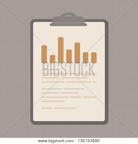Business report with graphs on brown clipboard. Flat vector illustration