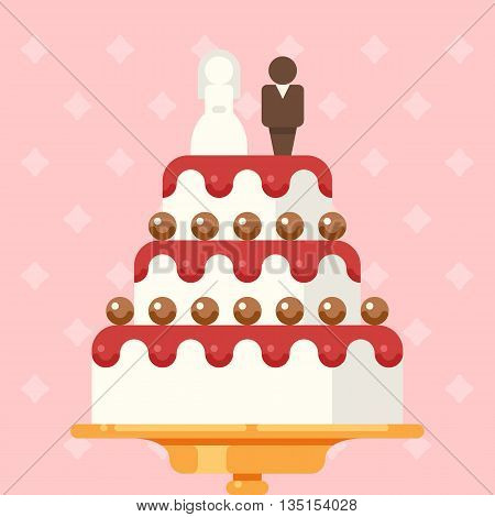 Vector illustration of wedding cake for invitations or announcements. Save the date. Flat design style