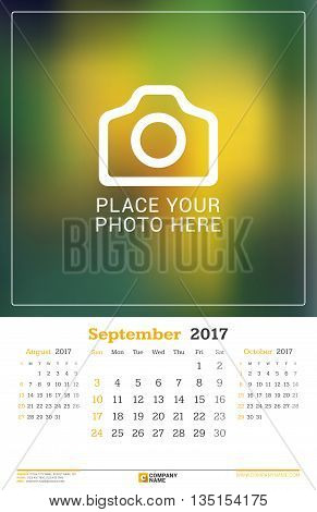 September 2017. Wall Monthly Calendar For 2017 Year. Vector Design Print Template With Place For Pho
