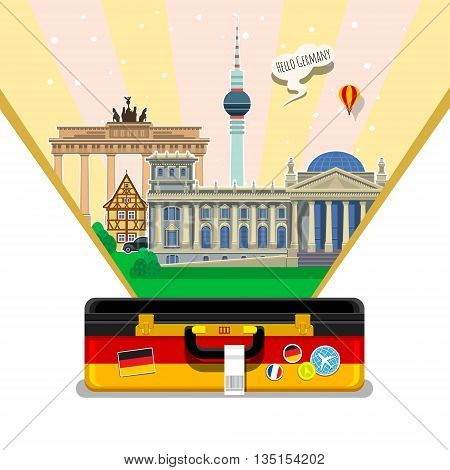 Concept of travel to Germany or studying German. German flag with landmarks in open suitcase. Excellent vacation in Germany. Cool trip to Germany. Fine travel to Germany. Time to travel. Tourism in Germany. Flat design, vector illustration