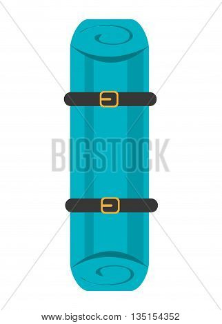 blue stretcher with black and yellow stripes over isolated background, first aid concept, vector illustration