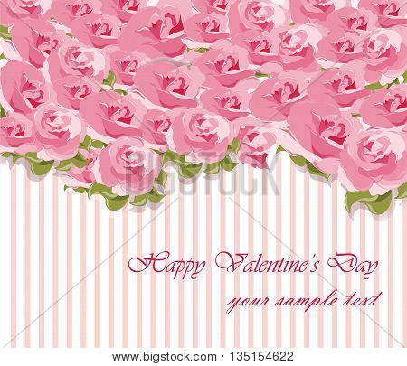 Happy Valentine's Day card with roses bouquet. Vector