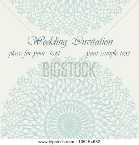 Invitation card with delicate crochet lace round ornament. Vector