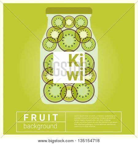 Infused water fruit recipe with kiwi, vector, illustration