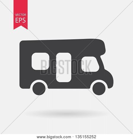 Motorhome icon. Camping sign. Camper van isolated on white background. Flat design style.