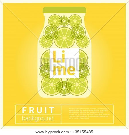 Infused water fruit recipe with lime, vector, illustration