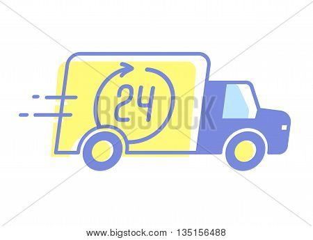 Vector design of car 24 hours delivery, minimal style.