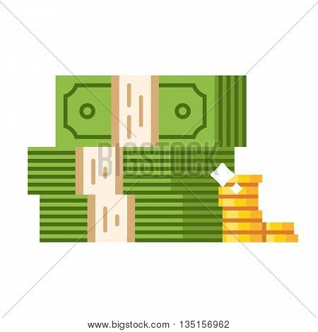 Dollar piles with gold dollar coins. Vector flat illustration isolated on white background.