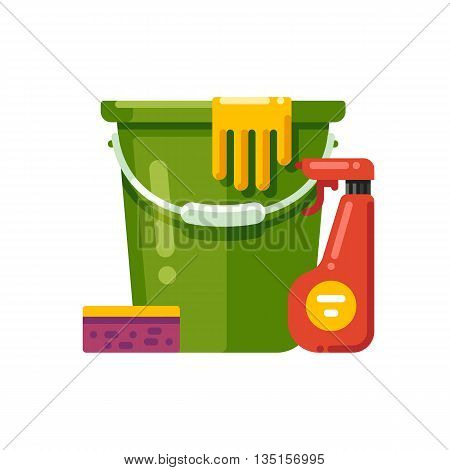 Cleaning supplies. Vector illustration isolated on white background