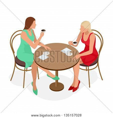 Coffee. Beautiful Girl Drinking Tea or Coffee in Cafe. Beauty Model Woman with the Cup of Hot Beverage. Warm Colors Toned. Flat 3d vector isometric illustration