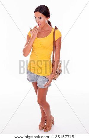 Surprised Brunette Woman With Brown Handbag