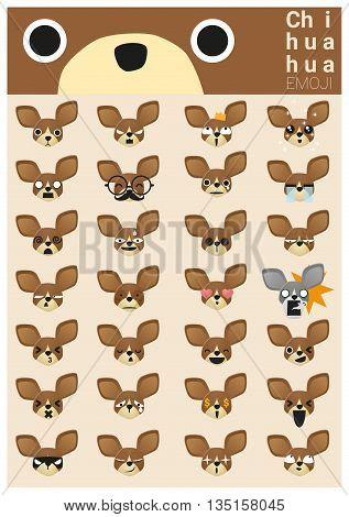 Chihuahua emoji icons , vector , illustration