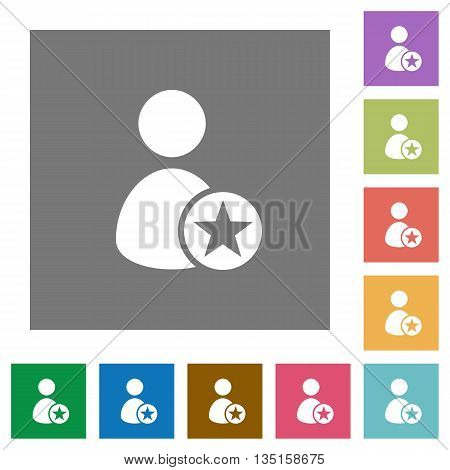 Rank user flat icon set on color square background.