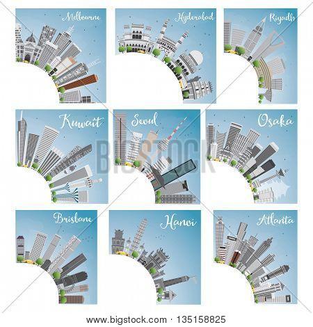 Set of 9 City Skyline with Copy Space. Vector Illustration. Skyline with World Landmarks. Melbourne. Hyderabad. Riyadh. Kuwait. Seoul. Osaka. Brisbane. Hanoi. Atlanta