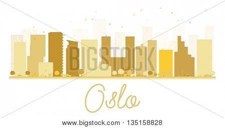 Oslo City skyline golden silhouette. Vector illustration. Simple flat concept for tourism presentation, banner, placard or web site. Cityscape with famous landmarks