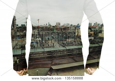 Double Exposure Of Businessman And Power Plant