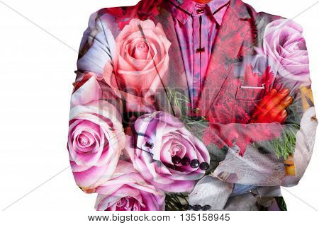 Double Exposure Of Businessman And Bunch Of Flowers