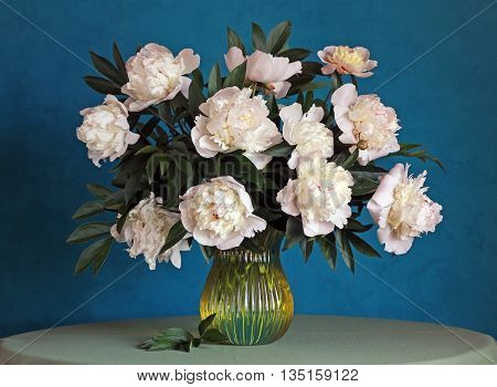 Still life with a bouquet of light pink peonies in a glass vase on a blue background.