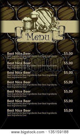 menu design brasserie on the background of beer barrels