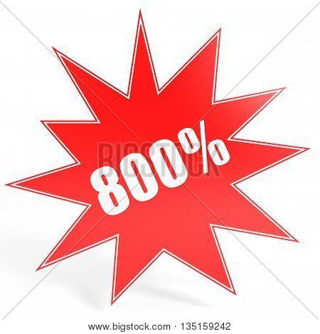 Discount 800 Percent Off. 3D Illustration.