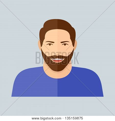 Smiling man with beard flat style icon. Male character. Man face vector illustration.