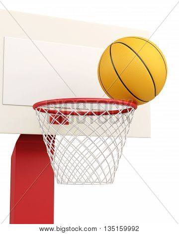 Basketball ball in basket closeup isolated on white background. 3d rendering.