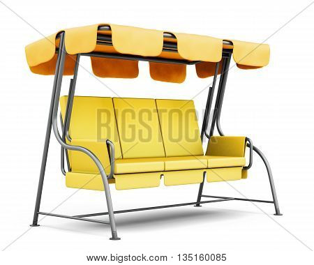 Garden swing with canopy isolated on white background. 3d rendering