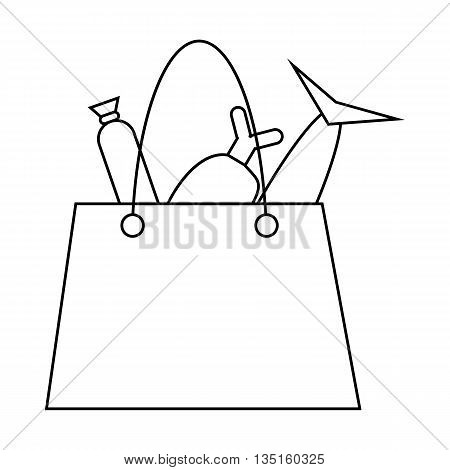 Grocery bag with fish and meat icon in outline style on a white background